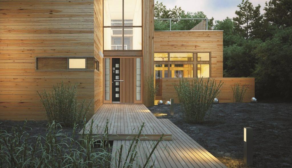 Entrée aluminium, décor bois et vitrage