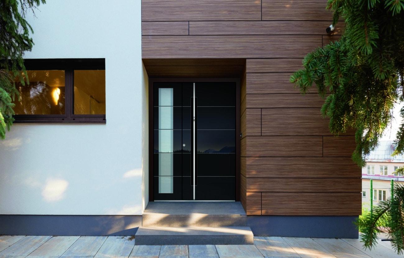 Porte d'entrée aluminium noire avec vitrage et système inosmart