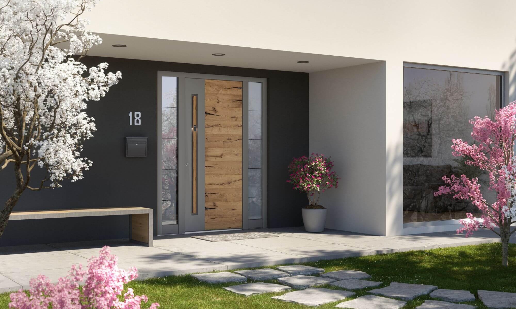 Porte d'entrée décor bois avec système d'ouverture intelligent